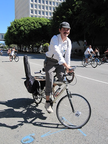 Bobby Gadda track standing an XtraCycle during the CicLAvia on October 9, 2011
