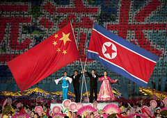 North Korea and China, friends forever - Arirang Mass Games in May Day stadium Pyongyang- North Korea (Eric Lafforgue) Tags: war asia korea asie coree northkorea dprk coreadelnorte 4101 nordkorea    coreadelnord   insidenorthkorea  rpdc  kimjongun coreiadonorte