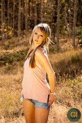 Brittney (Photos by GI) Tags: trees portrait people woman plants usa mountain fall girl grass sunshine fashion shirt female hair landscape outdoors clothing shoes colorado day adult boots body models blonde shorts blondie mountainrange individuals idahosprings brittneym mm2290111