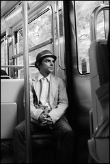 Arriving Paris (Sator Arepo) Tags: leica trip portrait urban blackandwhite paris france bus hat 35mm vintage hope coach metro dream rangefinder francia summilux sinatra franksinatra m9 tranport preasph leicam9