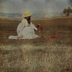 The Gardener (Veronica_Garcia1) Tags: red sky selfportrait mountains texture hat vintage garden landscape dress surreal dirt valley sunflower hillside brookeshaden texturebylesbrumes