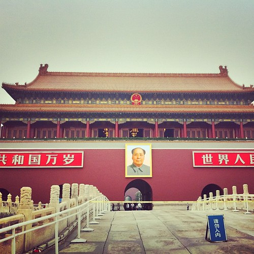 A portrait of Chairman #Mao hangs on the front of the Palace #Gates to the #ForbiddenCity near #TiananmenSquare in #Beijing #China. #obievip  #obievip_china by ObieVIP