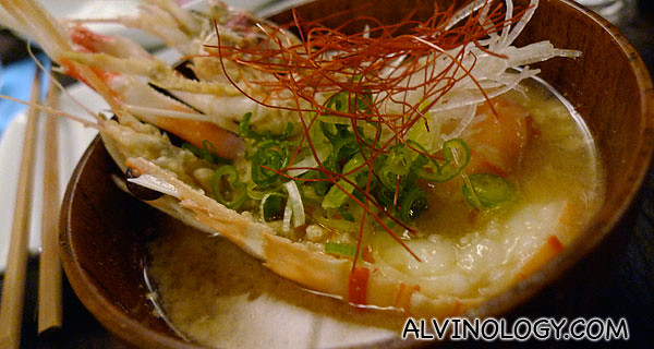 Scampi (lobster) miso - whole scampi, daikon, spring onion & sansho pepper