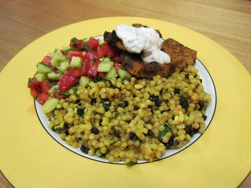 Israeli Couscous with Curry, Cashews, and Currants; Moroccan rubbed tofu, Moroccan cucumber and tomato salad; Moroccan minted dressing