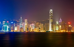 Looking at Hong Kong Central over Victoria Harbour (Fear_Through_The_Eyes) Tags: colour reflection water night buildings hongkong skyscrapers central cbd victoriaharbour blinkagain