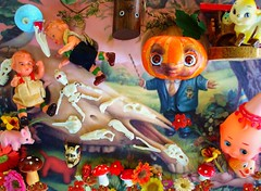 Rita's Ryden Challenge II (judibird) Tags: flower tree bird art halloween mushroom vintage painting pumpkin skeleton toy skull pig doll ooak clown birdhouse kitsch charm bee ornament bones devil markryden diablo challenge calavera kewpie anthropomorphic rainingrita ritasrydenhalloweenchallenge thepumpkinpresidentmarkryden1998