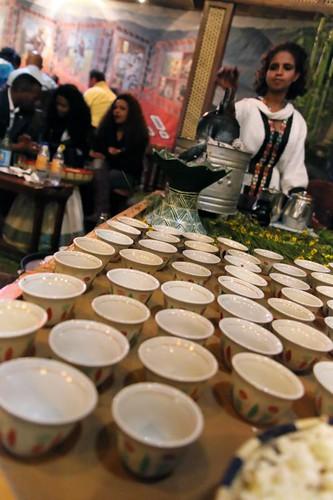 Coffee ceremony setup