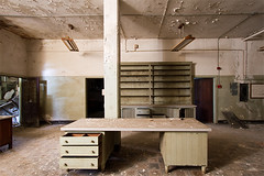 Abandoned State Hospital (AeroFennec) Tags: urban abandoned hospital hall lab state decay exploring center hallway medical asylum psychiatric ue psych labratory