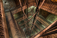 Don't fall down (Miroslav Petrasko (blog.hdrshooter.net)) Tags: old abstract tower fall architecture modern stairs canon eos town hall republic czech prague tripod elevator sigma prag praha praga down staircase 7d walls 1020mm hdr republika stara ceska photomatix veza radnica theodevil hdrshooter