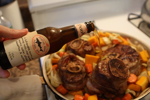 Adding Dogfish Head Punkin Ale to Osso Bucco