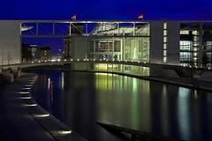 Berlin - Regierungsviertel (FH | Photography) Tags: berlin night deutschland europa reichstag promenade ufer brcke spree regierung fahne dri flagge hdr beton nachtaufnahme nachts regierungsviertel abends blauestunde demokratie deutschlandfahne brokratie frankherrmann beamtennlaufbahn