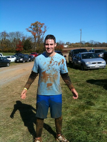 me, exhausted and covered in mud