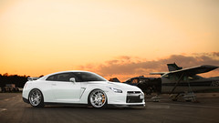 GOJIRA Wallpaper! (Jordan Donnelly) Tags: sunset wallpaper sky skyline airplane airport nissan low wheels first drop class jordan rims runway gojira slammed gtr stance donnelly r35 fitment adv1 tw0r canibeat