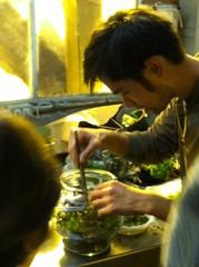 Terri planting a terrarium