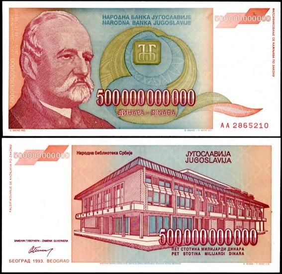 500 000 000 000 Dinárov Juhoslávia 1993, Pick 137
