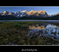 Mount Foch (pDOTeter) Tags: canada reflection kananaskis nikon mount treetrunk alberta foch d90 lowerkananaskislake deadtreetrunk foregroundinterest mountfoch