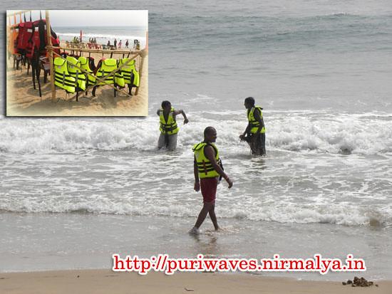 Life Jackets for taking sea bath at Puri Sea Beach