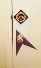 Doorknob and Lock. (djwgilroy) Tags: door star hardware lock doorway doorknob burst knob peephole frontdoor starburst midcenturymodern midcentury weiser escutcheon doorhardware backplate