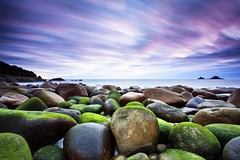 Green Eggs  [EXPLORED] (Martin Mattocks (mjm383)) Tags: longexposure pink sunset sky seascape green clouds moss explore boulders coastal brisons cotvalley porthnanven canoneos5dmarkii cornwalllandscapes mjm383 martinmattocksphotography