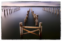 | X | (Geoffrey Gilson) Tags: pink blue seascape color marina sunrise canon landscape eos long exposure cross sweden x 7d geoffrey paysage suede gilson groynes plots nd400 nd500