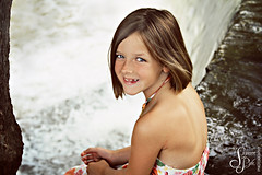 A v a (Suzanne Pyle Photography) Tags: summer portrait cute girl smile waterfall child dress sister blueeyes freckles suzannepyle suzannepylephotography