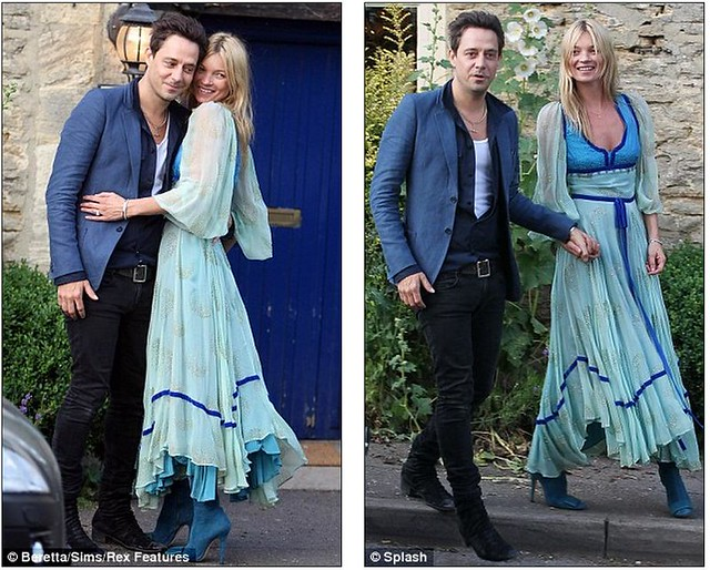 Bride-to-be Kate Moss goes 70s style as she heads to rehearsal dinner with fiancé Jamie Hince  2