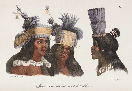 American Indian lithographic head shots with headresses and war paint - california