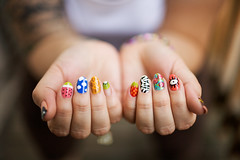 (gospastic) Tags: pink flowers blue red food orange white black green eye animals yellow stone glitter clouds cat gold hands strawberry hand teal painted peach ring watermelon clear nails cheeseburger bracelet kiwi nailpolish gem nailart hotpink zebraprint giraffeprint