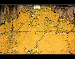 no downtime! (Wollbinho) Tags: old orange slr broken yellow wall photoshop canon germany deutschland eos europa europe paint thomas alt anniversary wand noparking down gelb 650 weathered cracks dslr came tamron chipped farbe mannheim standstill mauer kaputt risse badenwürttemberg verwittert parkverbot 2011 heruntergekommen jubiläum kurpfalz stillstand abgeplatzt wollbinho wollbeck 1000d sechshundertfünfzig sixhundredfifty mannheimat madewithloveinmannheim