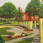 """<b>View Looking East from Bentdahl Commons</b><br/> Eckheart (Professor Emeritus of Art) (Oil on canvas, 2011)<a href=""""http://farm7.static.flickr.com/6039/6214275795_24a09982b2_o.jpg"""" title=""""High res"""">∝</a>"""