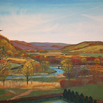"""<b>View West of Luther into the Valley, Fall Scene</b><br/> Eckheart (Professor Emeritus of Art) (Oil on canvas, 2010)<a href=""""http://farm7.static.flickr.com/6039/6214276127_2c7e11851e_o.jpg"""" title=""""High res"""">∝</a>"""
