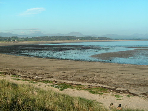 The view from Pwllheli Beach east to Snowdonia