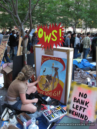 NYC Occupy Wall Street Rally Oct 8 2011 artist at work