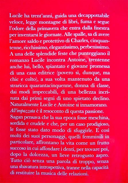 Françoise sagan, All'impazzata, Astoria 2011; progetto grafico di zevilhéritier. Risvolto di copertina (part.), 1