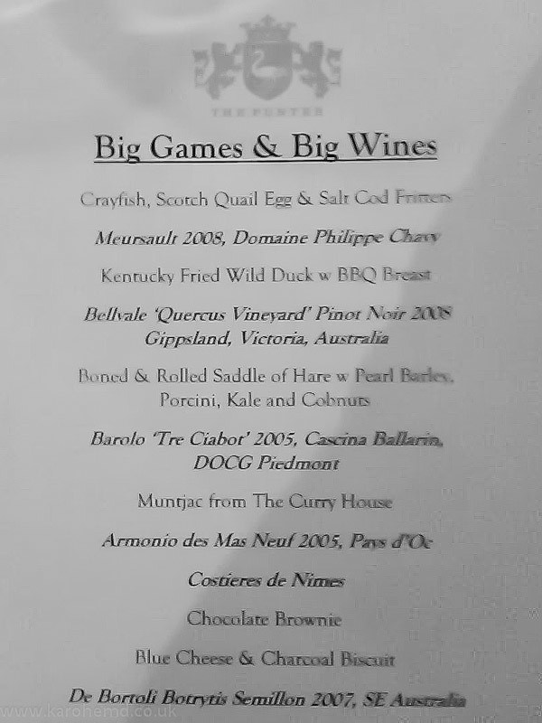Menu at The Punter's Big Game and Big Reds night