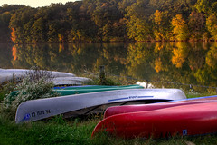 A canoe for two (ranzino) Tags: autumn lake reflection fall boats pond pa canoes lancastercounty amishcountry speedwellforge pennsylvaniadutchcountry padutchcountry
