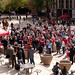 The NC State community gathers on the Brickyard for the Ally Rally, held in response to vandalism at the GLBT Center in Harrelson Hall earlier in the week.
