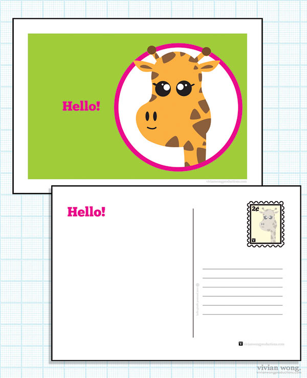 Hello Giraffe Postcard FREE Download