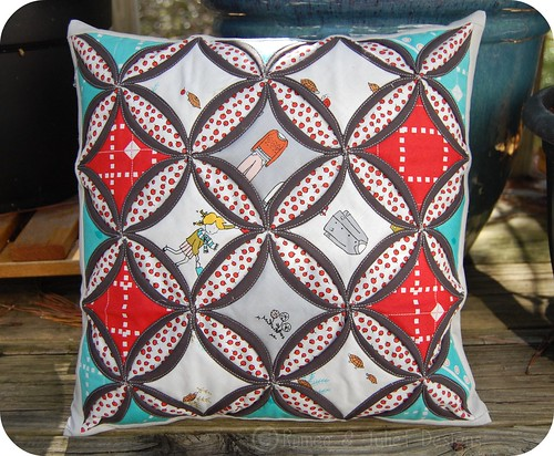 Little Apples Cathedral Window Pillow
