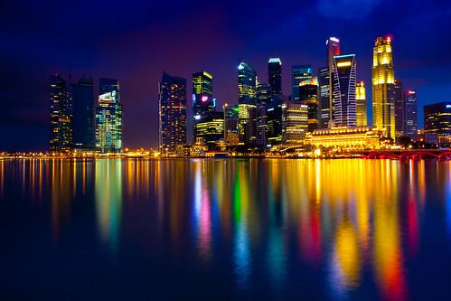 無料写真素材, 建築物・町並み, 都市, 海, 夜景, 風景  シンガポール
