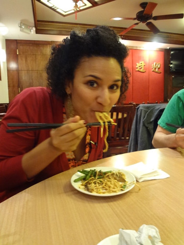 Face full of e-fu noodles with mushrooms at Lucky Eight, Sunset Park, Brooklyn.