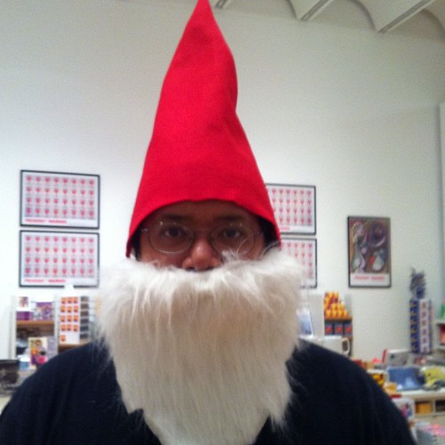 Raoul as a garden gnome.