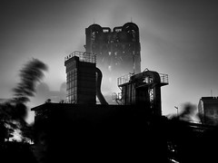 from shadows and steam (StephenCairns) Tags: longexposure blackandwhite bw japan night  motosu  cementfactory sumitomo  30mmsigmaf14 canon50d 50dcanon  sumitomocement