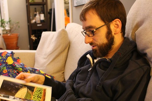 Nate Reading the Oxford Companion to Beer
