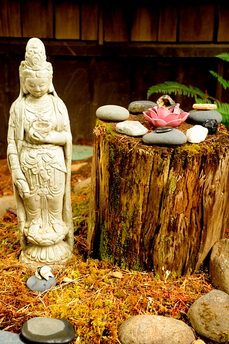 Female Bodhisattva statue, lotus, spiral offering stone stages-of-the-path, log, moss, Breitenbush Hot Springs, Breitenbush, Marion County, Oregon, USA by Wonderlane