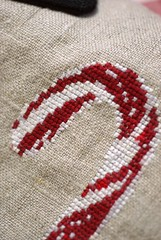 Red Candy Cane (Deep Indigo) Tags: christmas xmas red bag navidad crossstitch candy heart handmade linen embroidery fabric pouch button clutch candycane makeupcase naturallinen xmaspouch