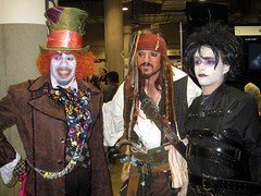 Johnny Depp cosplay (Edward Scissorhands, Jack Sparrow, Mad Hatter) at Comikaze Expo 2011