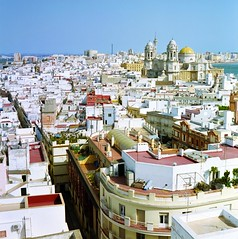 Cadiz skyline from the roof of the Camera Obscura (mattneighbour) Tags: mamiya spain fuji rooftops cadiz reala c41 c330 c330s homeprocessed