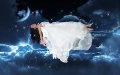 The Dreamer (Samantha Louise Knott) Tags: portrait sky woman selfportrait art girl fashion night self dress creative dream levitation manipulation imagination trick float whitedress