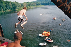 buttzzz (imprint777) Tags: summer train river fun newjersey nj bridgejumping rafts delawareriver buttzville traintrestle